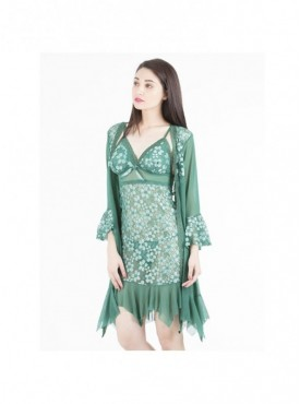 Shyle Green Floral Embossed Babydoll With Robe