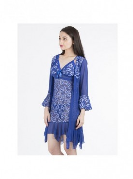 Shyle Ink Blue Floral Embossed Babydoll With Robe
