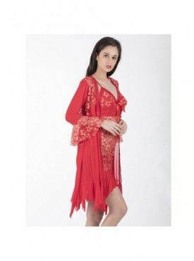 Shyle Red Floral Embossed Babydoll With Robe