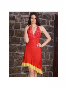 Shyle Red Halter neck Padded Babydoll