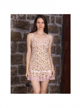 Shyle Baby Pink Floral Printed Babydoll