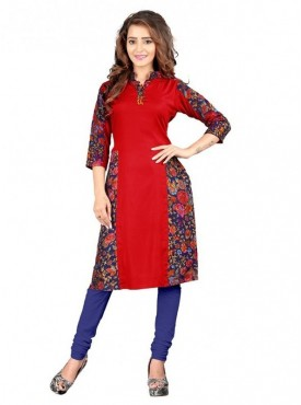 Shelina Rayon Red Color Kurti