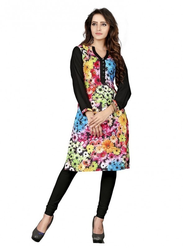 Shelina Crepe Black Color Kurti