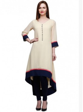 Shelina Rayon Cream Color Kurti