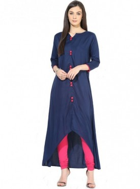 Shelina Rayon Navy Blue Color Kurti