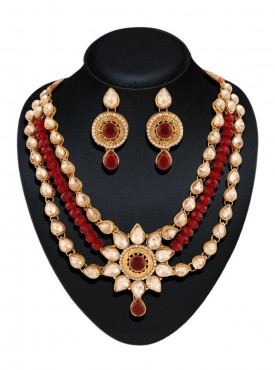 New Design Fashion Jewellery Necklaces For Women's In Red & Off White Color