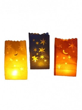 Stars Candle Bags In Red Blue Yellow