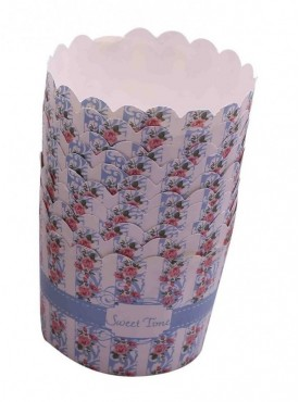 Blue Floral Sweet Time Cupcake Wrappers 10pcspack