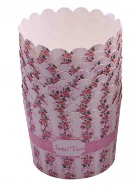 Pink Floral Sweet Time Cupcake Wrappers Pack Of 10