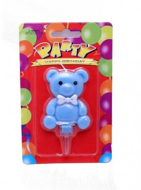 Blue Teddy Bear Candle