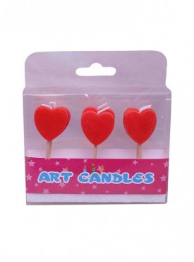Red Hearts Toothpick Candles Pack Of 6