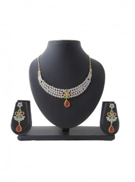 New Look Silver Green & Red Color Necklaces