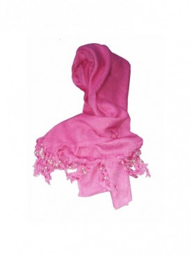 Generic Rayon Plain With Pearl Beads Scarf Size 2mtr (Pink)