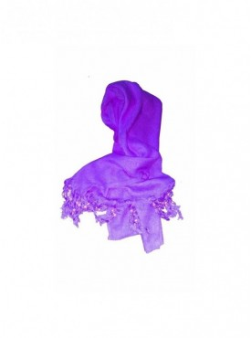 Generic Rayon Plain With Pearl Beads Scarf Size 2mtr (Purple )