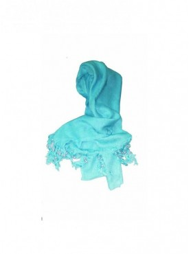 Generic Rayon Plain With Pearl Beads Scarf Size 2mtr (Sky Blue)