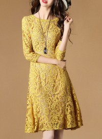 Europe Fashion Round Neck Fishtail Lace Dress