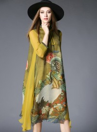 Retro Fashion Stand Collar Flowers Loosen Silk Long Dress