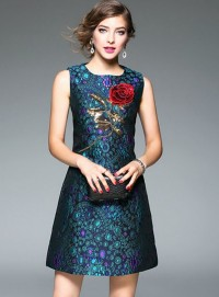 Europe Fashion Rose Embroidery Jacquard Flowers Tank Dress