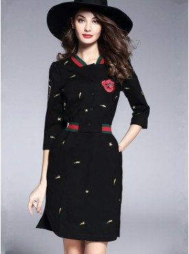 Hot Selling Elastic Waist Flowers Stars Embroidery Cotton Dress