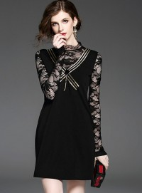 Charming Lady Stripes Bowknot Lace Splicing A-line Dress