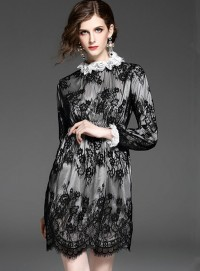 Retro Women Fashion Stand Collar Elastic Waist Lace Dress