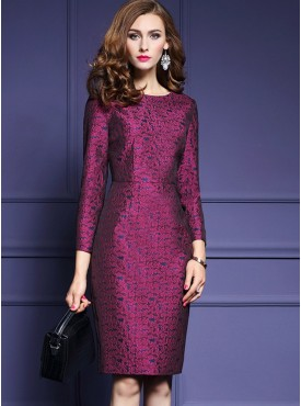 Elegant Women Fashion 2 Colors Jacquard Bodycon Dress