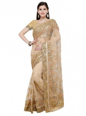 Aasvaa Chiku Color Fabric Net Blouse Un-Stitched Embroiderd Fancy Saree