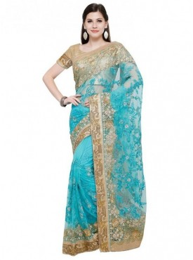 Aasvaa Firoji Color Fabric Net Blouse Un-Stitched Embroiderd Fancy Saree