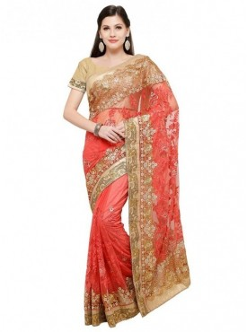 Aasvaa Gajari Color Fabric Net Blouse Un-Stitched Embroiderd Fancy Saree