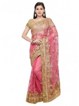Aasvaa Pink Color Fabric Net Blouse Un-Stitched Embroiderd Fancy Saree