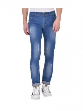 Ansh Fashion Wear Men Blue Strechable Distressed Denim Jeans