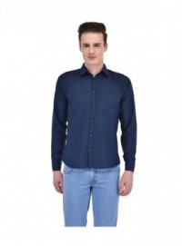 Ansh Fashion Wear Men Blue Casual Wear Cotton Blend Shirt
