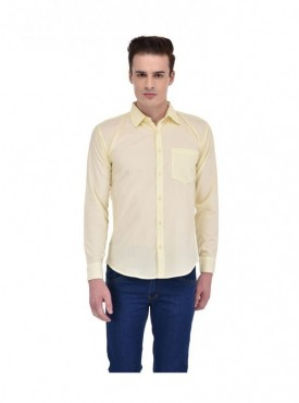 Ansh Fashion Wear Men Yellow Casual Wear Cotton Blend Shirt
