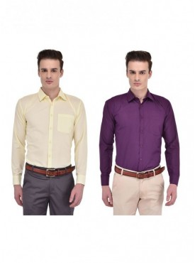 Ansh Fashion Wear Multi Colored Set Of 2 Cotton Blend Shirt