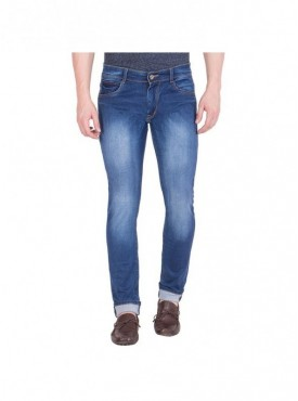 Spanish Blue Trendy Stretchable Jeans For Men