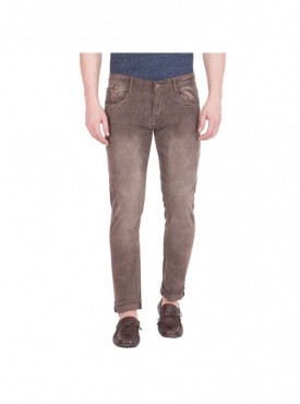 Flying Port Men Brown Slim Fit Stretchable Jeans