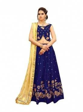 Aasvaa Soft Twill Silk Navy Blue Color Embroidered Lehenga.
