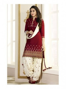 Aryaa Fashion Stylish Maroon Cotton Embriodered Suit With Dupatta