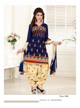 Aryaa Fashion Blue Cotton Embriodery Panjabi Suit with Dupatta
