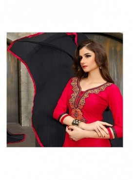Aryaa Fashion Red Designer Cotton Embroidery Punjabi Suit With Dupatta
