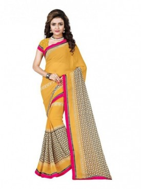 Mayloz Yellow Georgette Saree