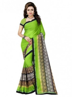 Mayloz Green Georgette Saree