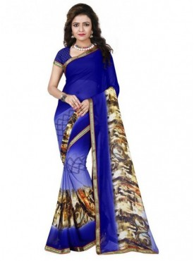 Mayloz Blue Georgette Saree
