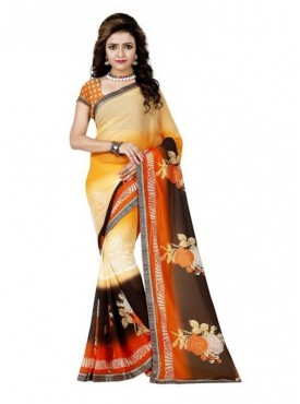 Mayloz Multicoloured Georgette Saree