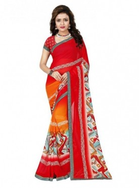 Mayloz Red Georgette Saree