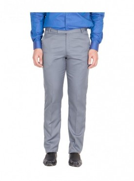 American-Elm Men Light Grey Colour Formal Trouser