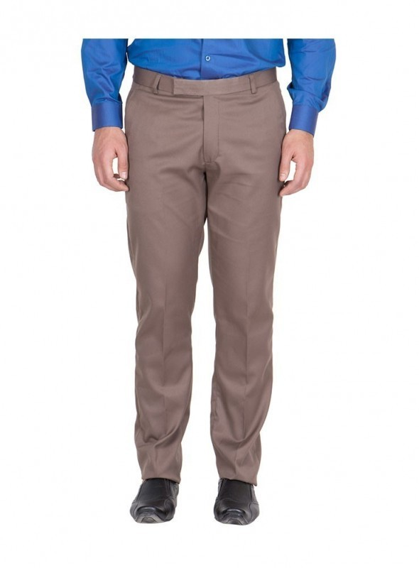 American-Elm Men Light Brown Colour Formal Trouser