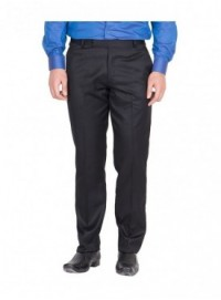 American-Elm Men Black Colour Formal Trouser