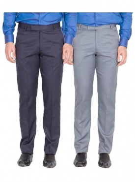 American-Elm Men Nevy, Light Grey Colour Formal Trousers- Pack of 2