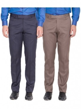 American-Elm Men Nevy, Light Brown Colour Formal Trousers- Pack of 2